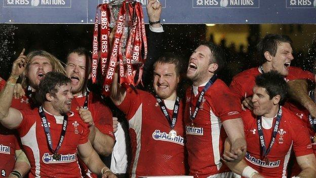 Wales celebrate their Six Nations