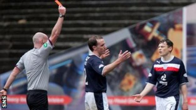 Dundee defender Gary Irvine is sent off by Referee Bobby Madden
