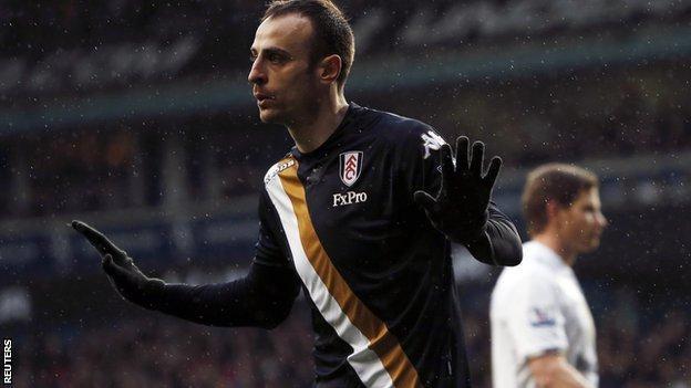 Fulham striker Dimitar Berbatov does not celebrate after his winner at Tottenham