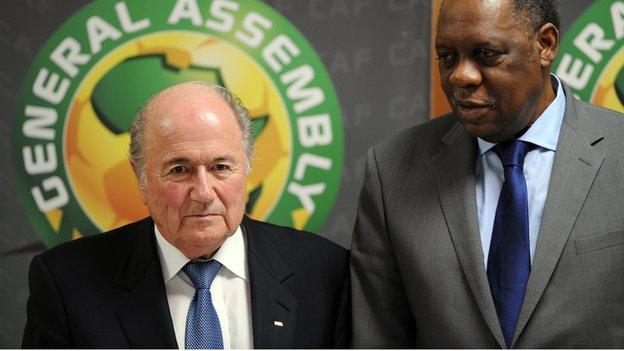 Fifa boss Sepp Blatter with Caf president Issa Hayatou