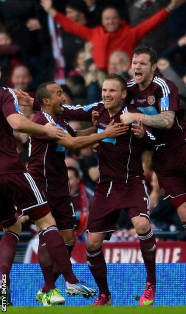 Ryan Stevenson is congratulated by his Hearts team-mates on one if his two goals at Hampden
