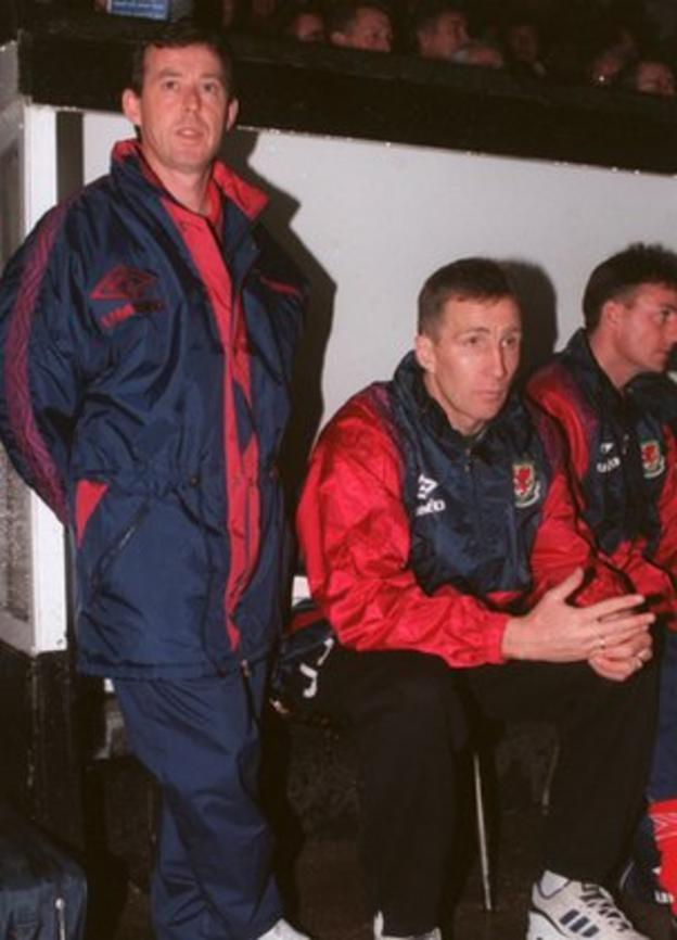 Jones (right) was a member of Brian Flynn's coaching team at Wrexham