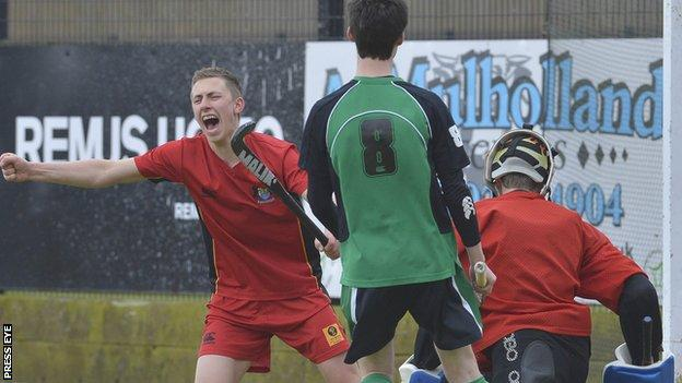 A delighted Rory Woods celebrates scoring his first goal in the final