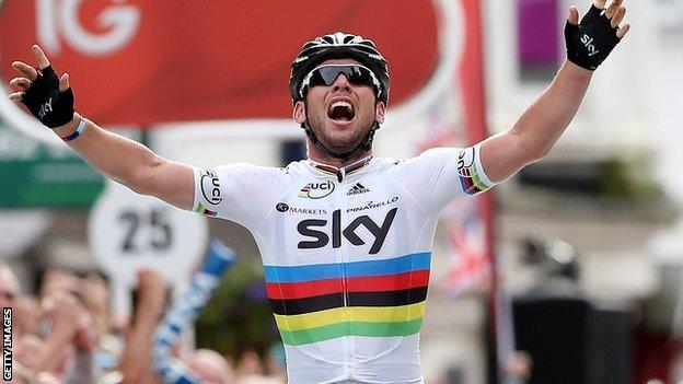 2011 road race World Champion Mark Cavendish won the last stage of the 2012 Tour of Britain in Guildford