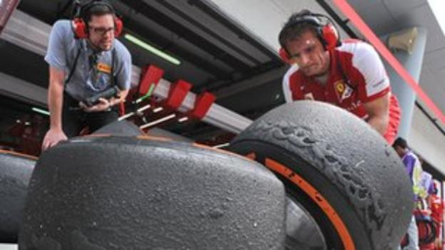 Marked tyres at the Malaysian Grand Prix