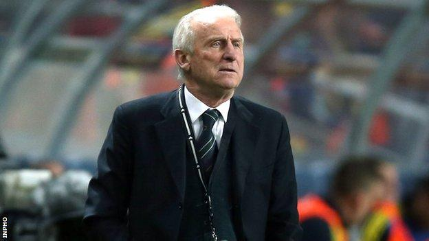 Giovanni Trapattoni watches Friday's match in Stockholm's Friends Arena