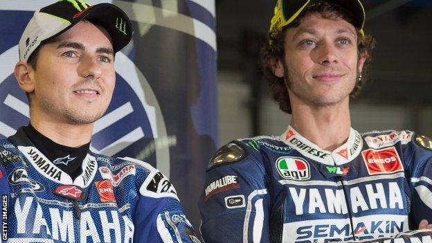Jorge Lorenzo (left) and Valentino Rossi