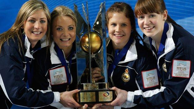 Scotland curling team with the World Championship trophy
