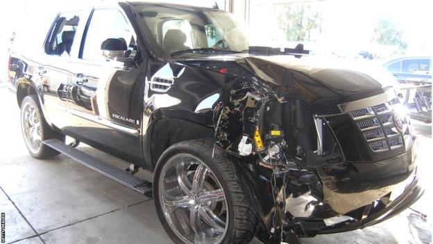 Tiger Woods' car after his infamous crash