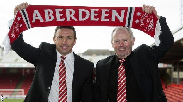 Derek McInnes and chairman Stewart Milne