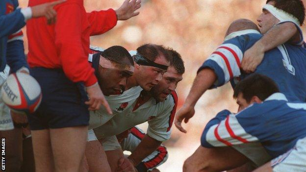 Brian Moore scrummaging for England