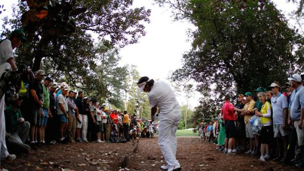 Bubba Watson in the 2012 Masters play-off