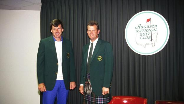 Nick Faldo (left) is presented with his first Green Jacket by 1988 champion Sandy Lyle