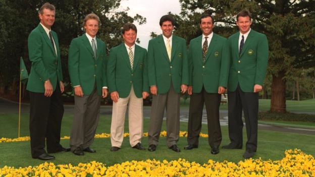 European winners of the Masters (left to right); Sandy Lyle, Bernhard Langer, Ian Woosnam, Jose Maria Olzabal, Seve Ballesteros and Nick Faldo