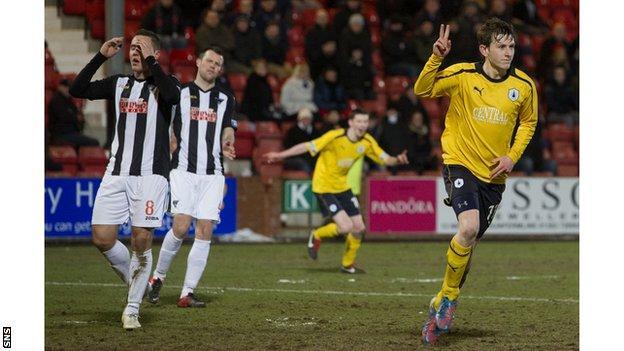 Blair Alston celebrates his late goal for Falkirk