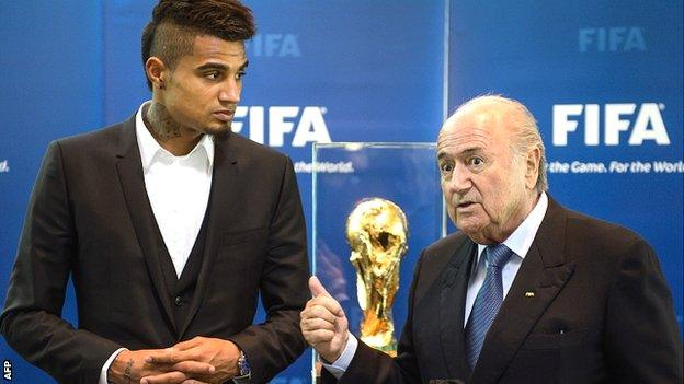 AC Milan player Kevin-Prince Boateng and Fifa president Sepp Blatter