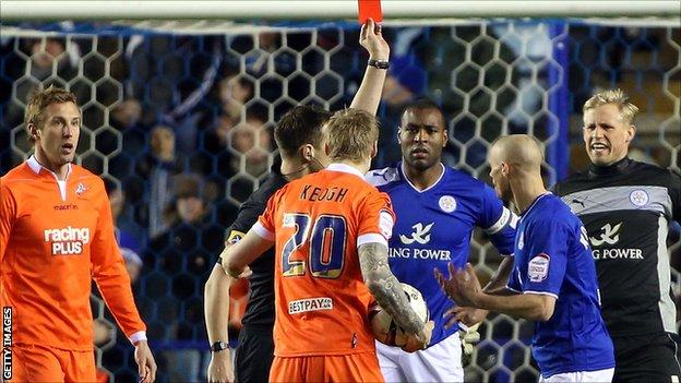 Wes Morgan is red carded