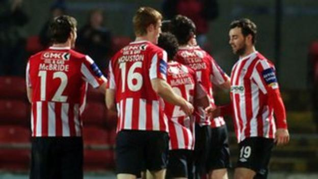 Derry City celebrate scoring the opening goal against Shelbourne