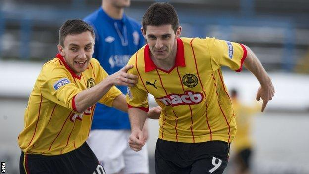 Partick Thistle players celebrating