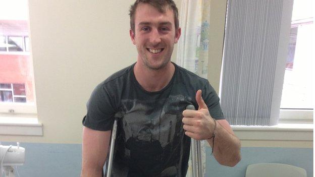 Mark McCrea in hospital