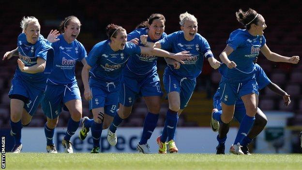 Birmingham Ladies celebrate their FA Women's Cup win in 2012