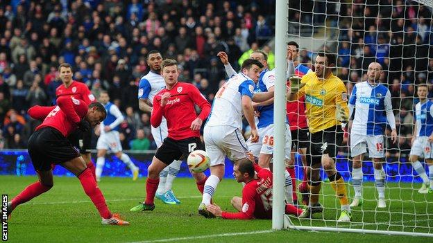 Fraizer Campbell scores Cardiff's opening goal against Blackburn Rovers on Monday