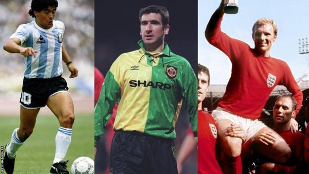 Diego Maradona, Eric Cantona and Bobby Moore