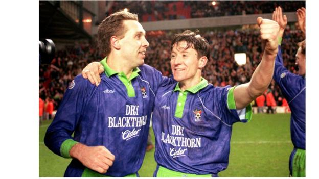 Brian Tinnion (left) scored the only goal in the 1-0 replay at Anfield