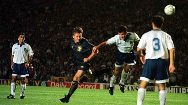 Ally McCoist scores the winning goal against Greece