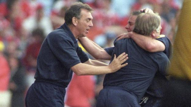 Scotland assistant Alex Miller (left) and Craig Brown with Ally McCoist