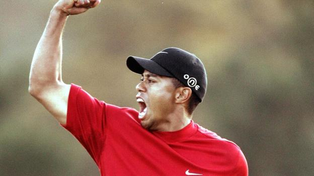Tiger Woods celebrates his 2005 Masters victory