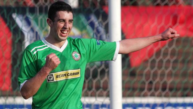 A delighted Joe Gormley after netting Cliftonville's second goal in the 2-0 win over Crusaders
