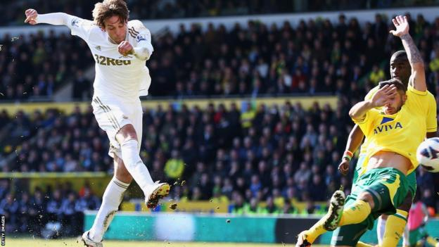 Michu opens the scoring for Swansea City at Norwich in the Premier League