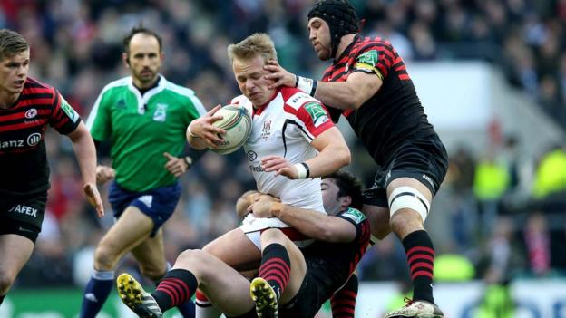 Ulster centre Luke Marshall feels the squeeze as Saracens deny space to the Irish visitors