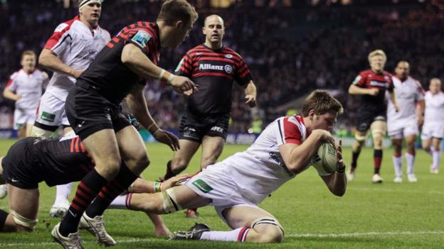 Iain Henderson crashes over to score a late consolation try in the 27-16 defeat by Saracens
