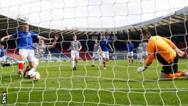 Fraser Aird scores for Rangers against Queen's Park