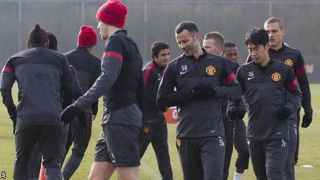 Manchester United's team at Carrington training ground