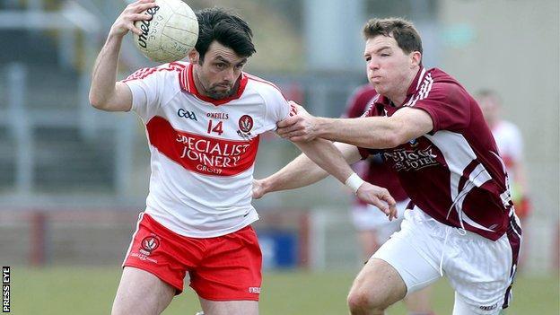 Derry's Eoin Bradley in possession against Paul John Gaffey