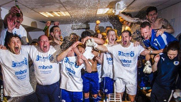 Chester's players celebrate