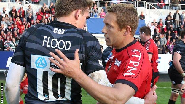 Jonny Wilkinson commiserates with friend and former team-mate, Leicester fly-half Toby Flood