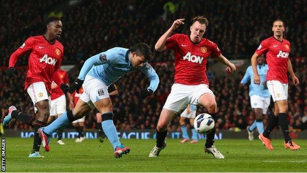 Sergio Aguero of Man City scores against Man Utd
