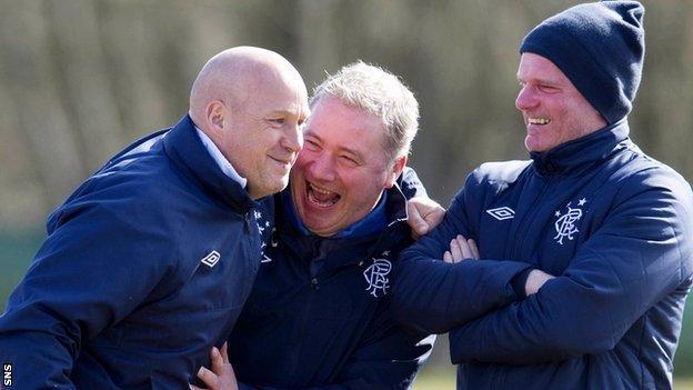 Kenny McDowall, Ally McCoist and Ian Durrant share a joke at training