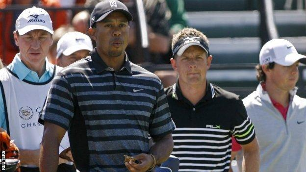 Tiger Woods and Luke Donald