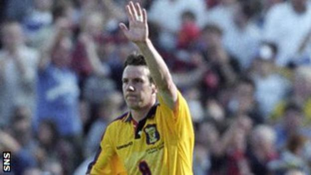 Craig Burley celebrates his goal for Scotland against Norway at France '98