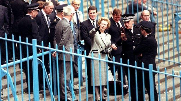 Margaret Thatcher visiting Hillsborough the day after the disaster
