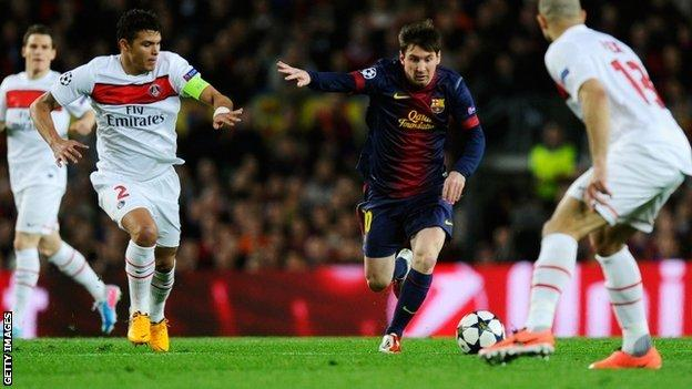 Lionel Messi in action against PSG