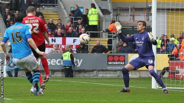Heidar Helguson scores for Cardiff