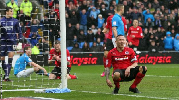 Craig Bellamy gives a a rueful smile after going close to extending Cardiff's lead against Nottingham Forest.
