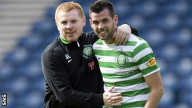 Celtic manager Neil Lennon and midfielder Joe Ledley