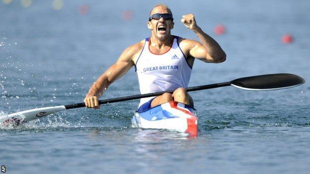 Tim Brabants celebrates winning gold at the Beijing Olympics